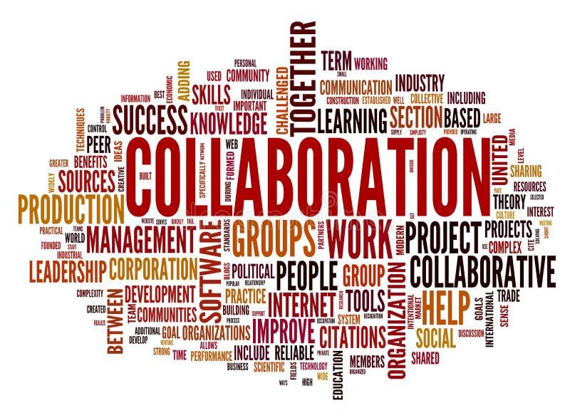 Conceito da colaboração na nuvem do Tag da palavra ilustração do vetor