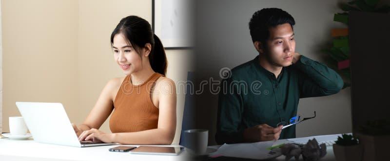 Conceito da comparação do equilíbrio da vida do trabalho em povos asiáticos do freelancer ou no empresário novo Homem e mulher as fotos de stock