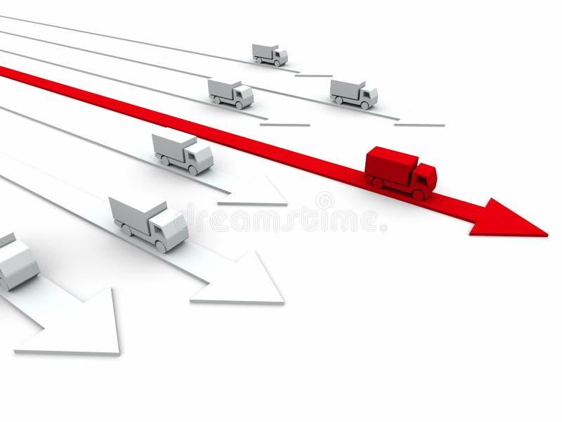 conceito da competição 3d: entrega rápida ilustração stock