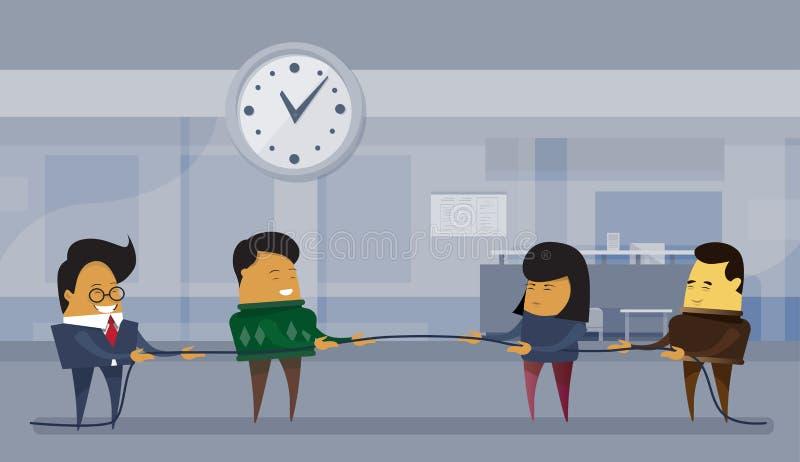 Conceito da competição do negócio dois Team Of Businesspeople Pulling Rope ilustração stock