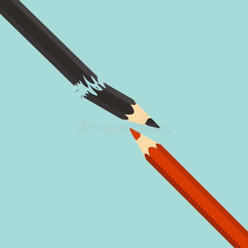 Conceito da competição Liderança Lápis vermelho e pena preta quebrada ilustração do vetor