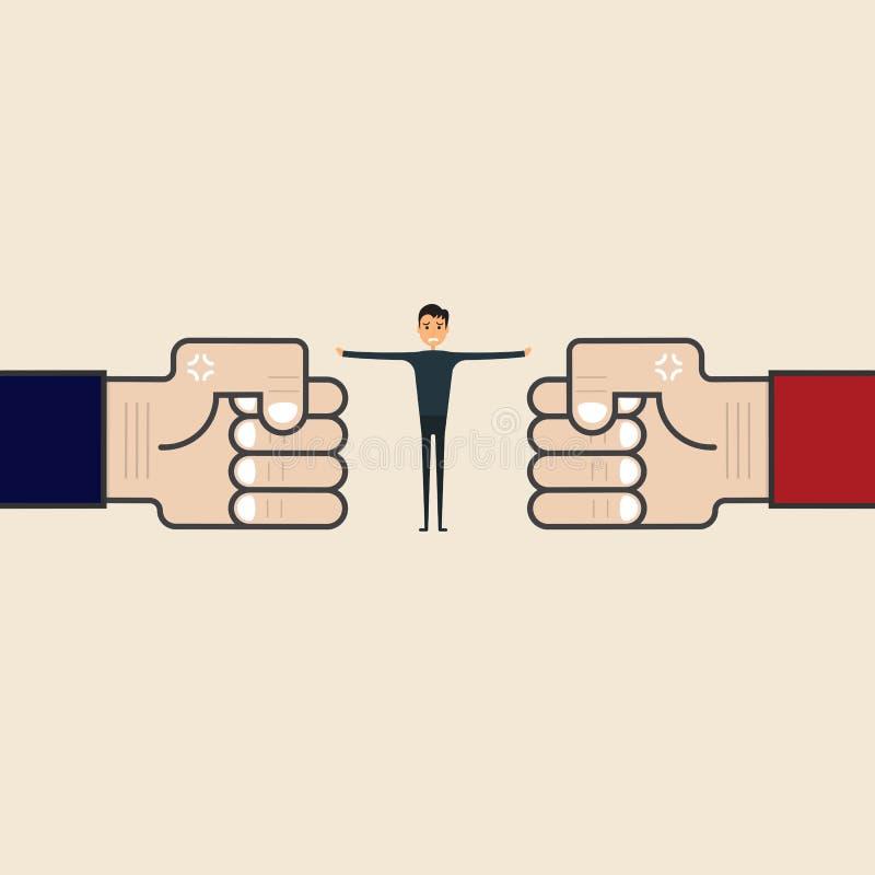 Conceito da competição, da mediação ou do árbitro Homem de negócios e azul, com referência a ilustração stock