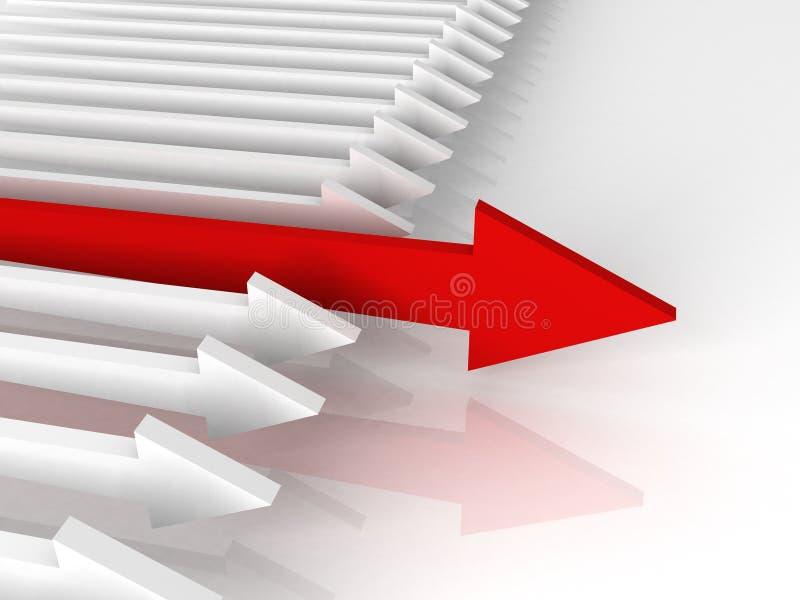 Conceito da competição. Seta vermelha principal ilustração do vetor