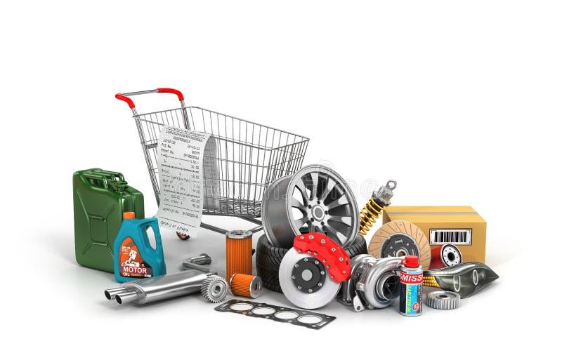 Conceito da compra das peças de automóvel ilustração royalty free