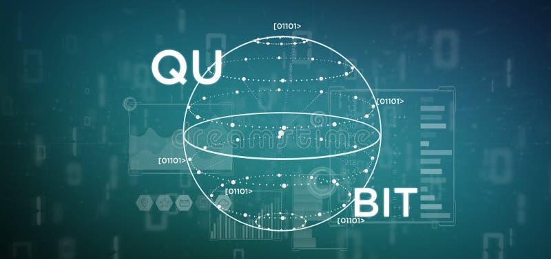Conceito da computação de quantum com rendição do ícone 3d do qubit ilustração royalty free