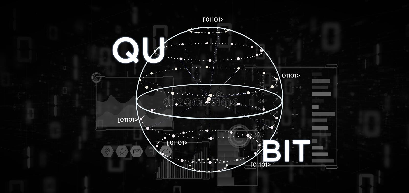 Conceito da computação de quantum com rendição do ícone 3d do qubit ilustração do vetor