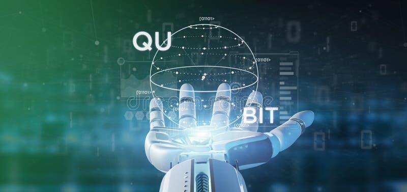 Conceito da computação de quantum da terra arrendada da mão do Cyborg com rendição do ícone 3d do qubit fotografia de stock