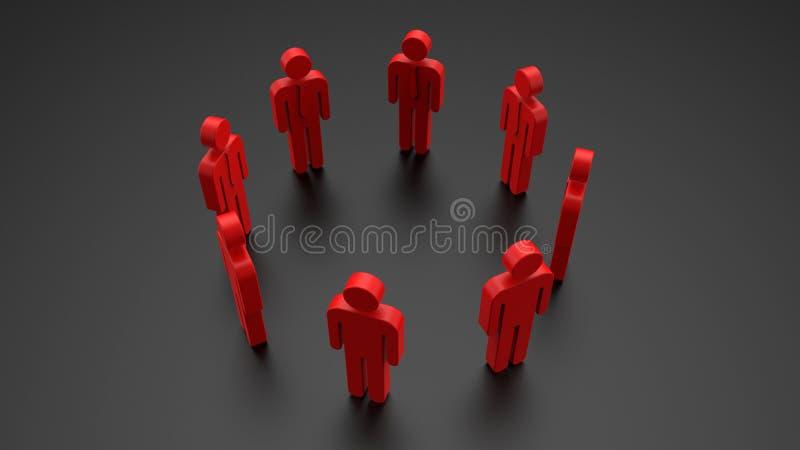 conceito da comunidade do homem de negócios do avatar 3D ilustração royalty free