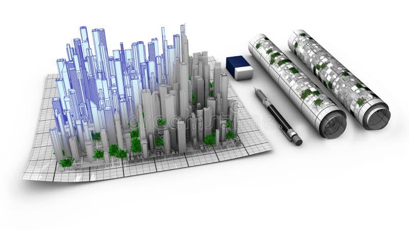 Conceito da concepção arquitetónica de uma cidade que emerge do mapa ilustração do vetor