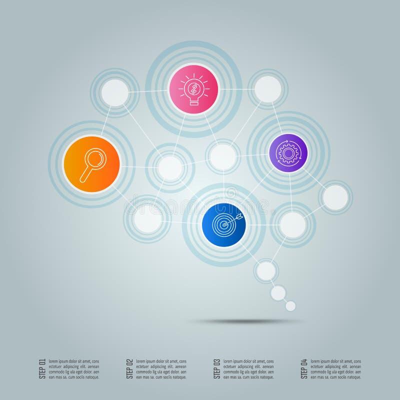 Conceito da conexão de negócio do projeto de Infographic no formulário do cérebro ilustração royalty free