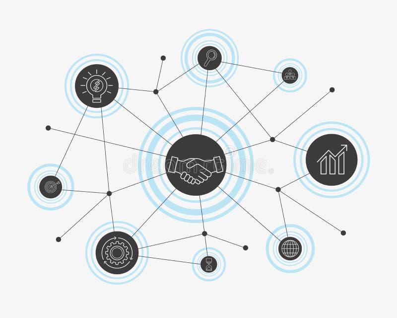 Conceito da conexão de negócio Ilustração do vetor ilustração stock