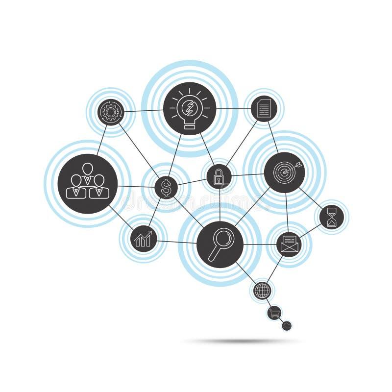 Conceito da conexão de negócio no formulário do símbolo do cérebro ilustração royalty free