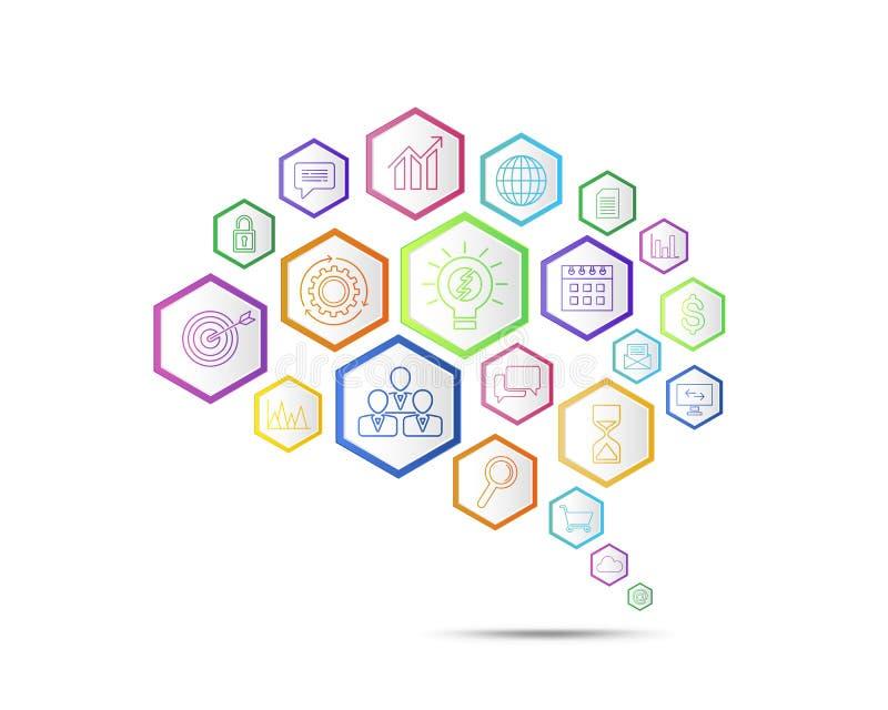 Conceito da conexão de negócio no formulário do símbolo do cérebro ilustração stock