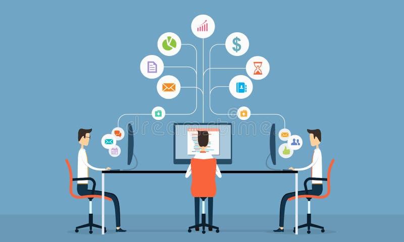 Conceito da conexão de uma comunicação do Internet da tecnologia do negócio ilustração do vetor
