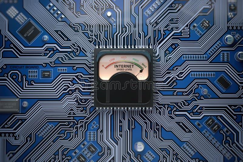 Conceito da conexão do nível da velocidade do Internet Velocidade máxima do Internet ilustração do vetor