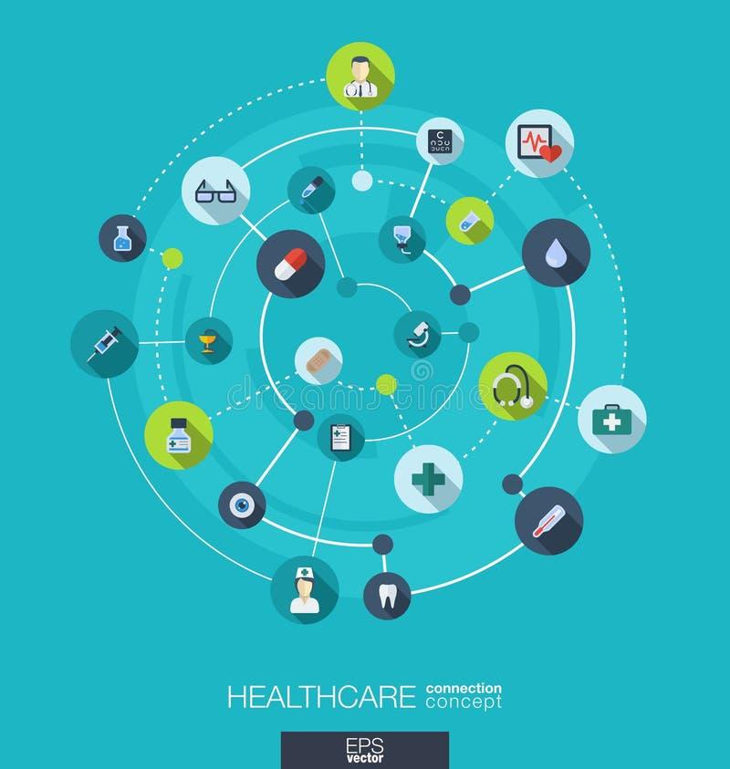 Conceito da conexão dos cuidados médicos Fundo abstrato com círculos e ícones integrados para médico, saúde, cuidado, medicina ilustração stock