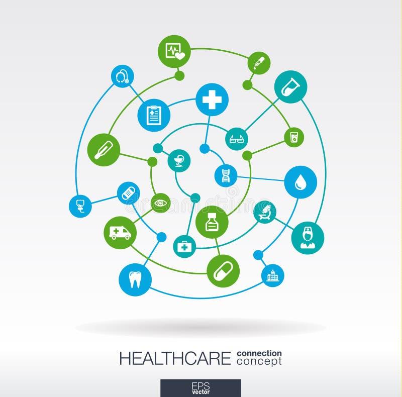 Conceito da conexão dos cuidados médicos Fundo abstrato com círculos e ícones integrados para médico, saúde, cuidado, medicina ilustração royalty free