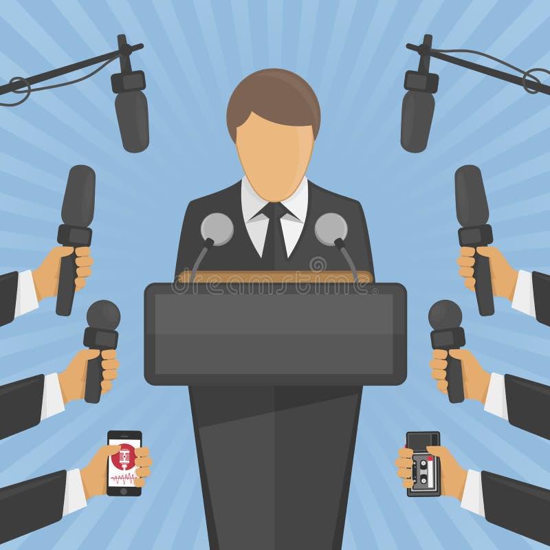 Conceito da conferência de imprensa da entrevista ilustração stock