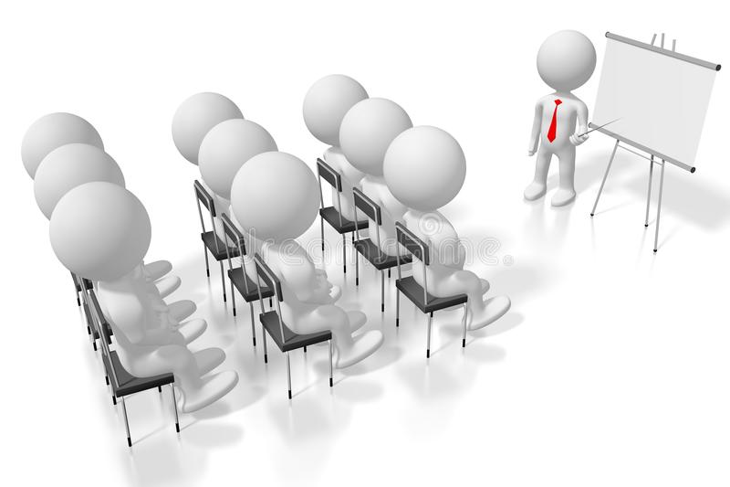 conceito da conferência do estudo de caso do treinamento do seminário 3D ilustração stock