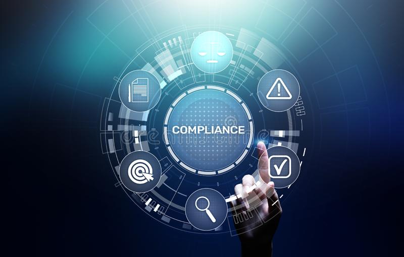 Conceito da conformidade com ícones e texto Regulamentos, lei, padrões, exigências, diagrama da auditoria na tela virtual ilustração stock