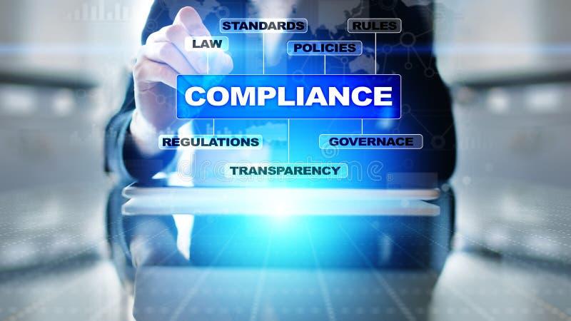 Conceito da conformidade com ícones e texto Regulamentos, lei, padrões, exigências, diagrama da auditoria na tela virtual foto de stock