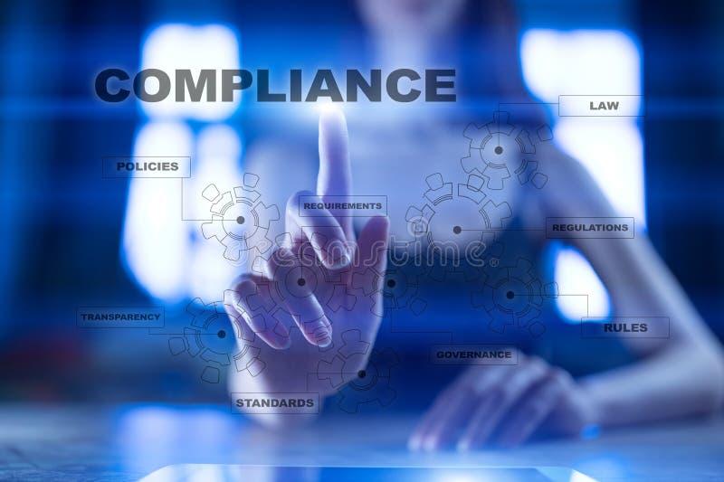 Conceito da conformidade na tela virtual Política, regras, regulamento da lei ilustração royalty free