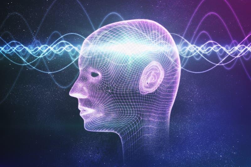 Conceito da consciência, da metafísica ou da inteligência artificial As ondas atravessam a cabeça humana 3D rendeu a ilustração ilustração stock