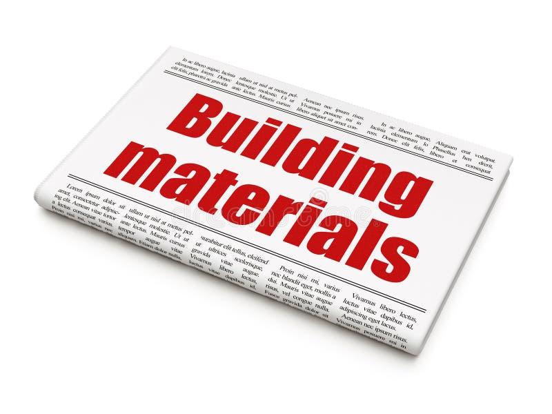Conceito da construção civil: materiais de construção do título de jornal ilustração royalty free