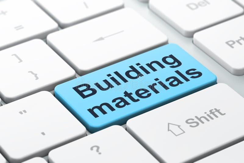 Conceito da construção civil: Materiais de construção no fundo do teclado de computador ilustração royalty free
