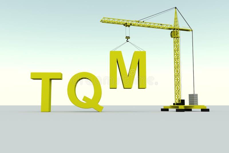 Conceito da construção do TQM ilustração do vetor