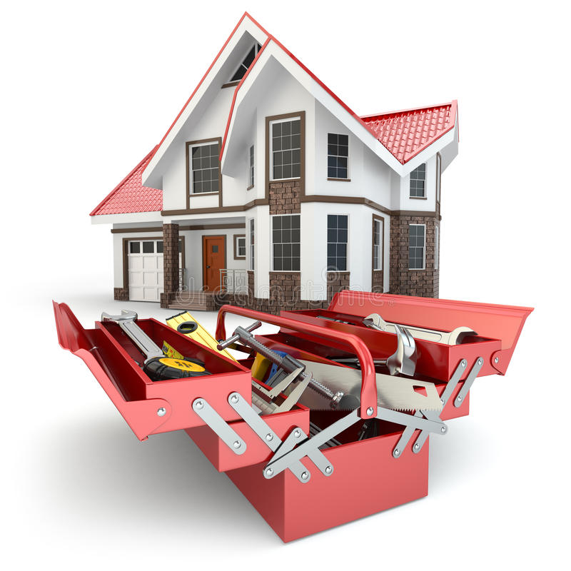 Conceito da construção e do reparo Caixa de ferramentas com ferramentas e casa, ilustração stock