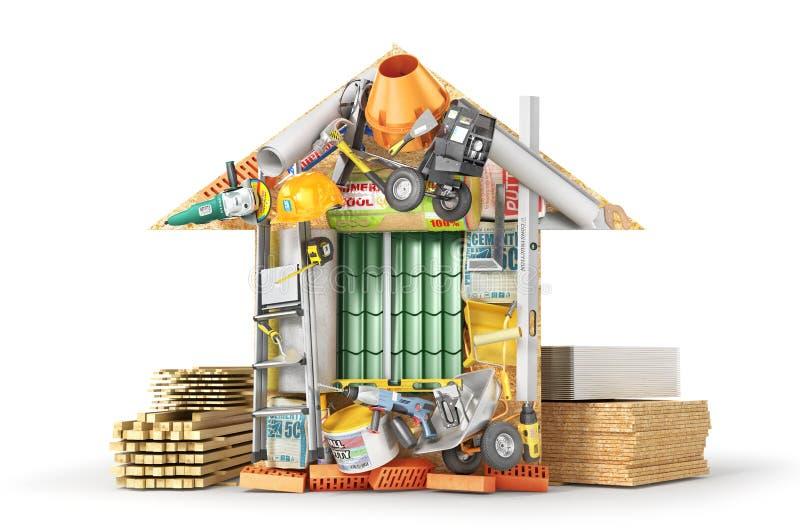 Conceito da construção Os materiais de construção apresentados formam da casa isolada em um branco ilustração stock