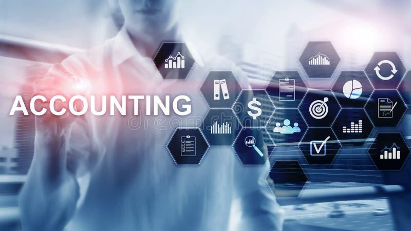 Conceito da contabilidade, do neg?cio e da finan?a na tela virtual ilustração royalty free