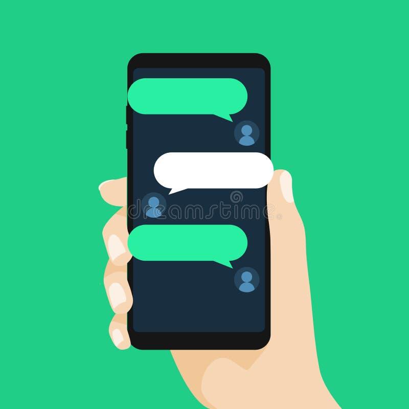 Conceito da conversação em linha com mensagem Texting Conversa no telefone ilustração do vetor