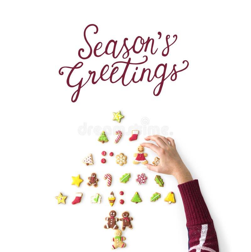 Conceito da cookie dos cumprimentos do ` s da estação do Natal imagens de stock royalty free