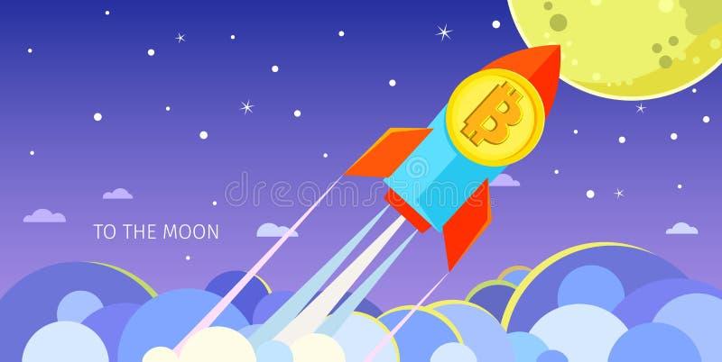 Conceito da Cripto-moeda Rocket que voa à lua com ícone do bitcoin ilustração do vetor