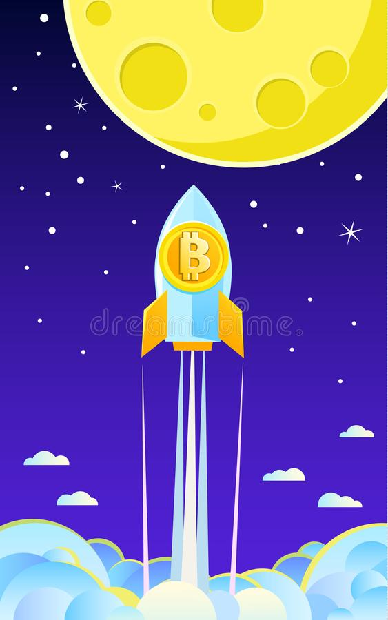Conceito da Cripto-moeda Rocket que voa à lua com ícone do bitcoin ilustração royalty free
