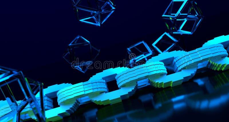 Conceito da criptografia de Blockchain Corrente azul no surfac reflexivo ilustração stock