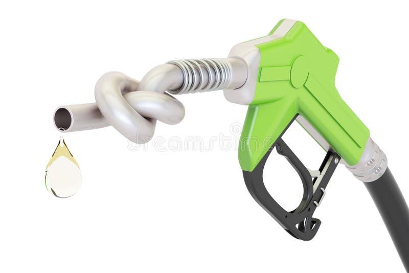 Conceito da crise de energia O bocal amarrado em um nó, 3D da bomba de gás rende ilustração royalty free