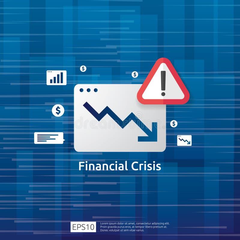 conceito da crise da finança do negócio com marca de exclamação alerta o gráfico do dinheiro cai para baixo símbolo esticão da ec ilustração do vetor