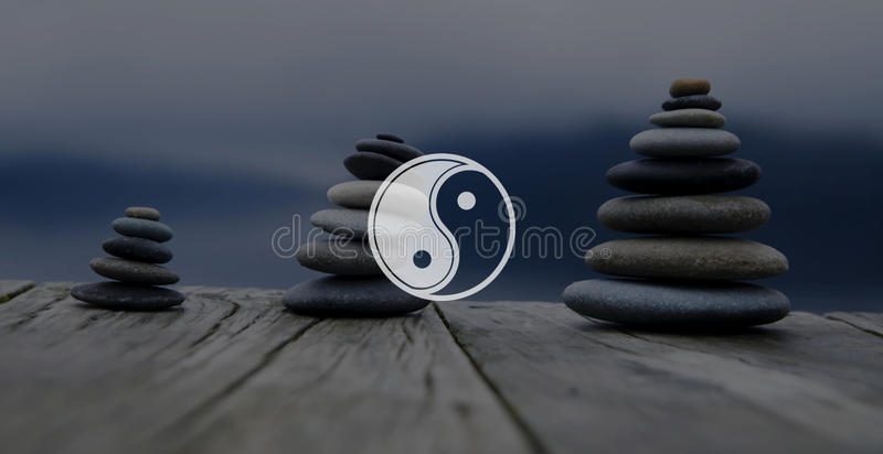 Conceito da cultura de Yin Yang Balance Contrast Opposite Religion imagens de stock