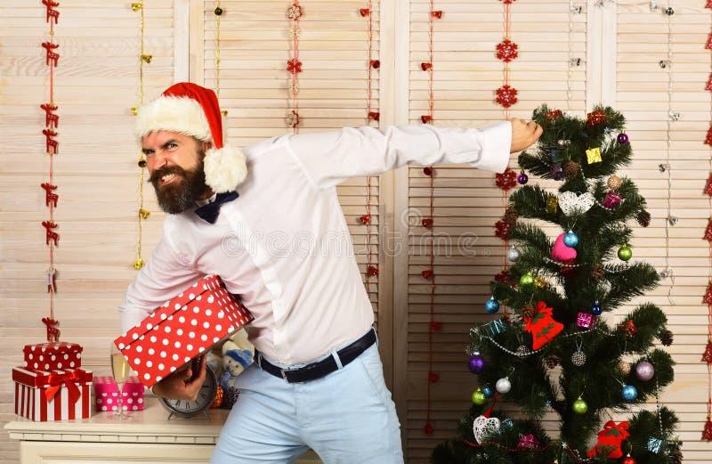 Conceito da decoração da celebração e do ano novo Santa Claus no chapéu imagem de stock royalty free