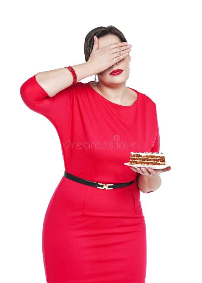 Conceito da dieta e da nutrição O doesn't positivo da mulher do tamanho quer ao SE imagem de stock