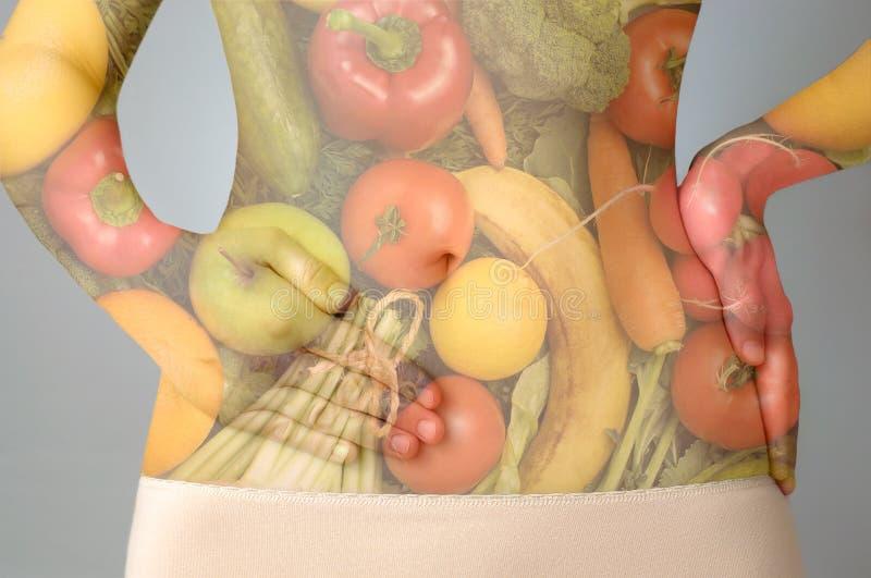 Conceito da dieta saudável de exposição dobro imagem de stock
