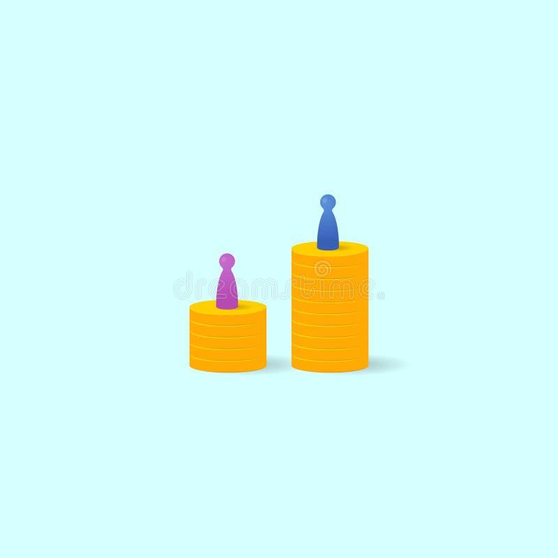 Conceito da diferença de salário ilustração do vetor