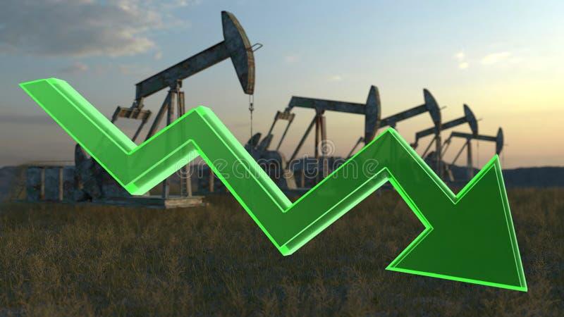 Conceito da diminuição do óleo foto de stock royalty free