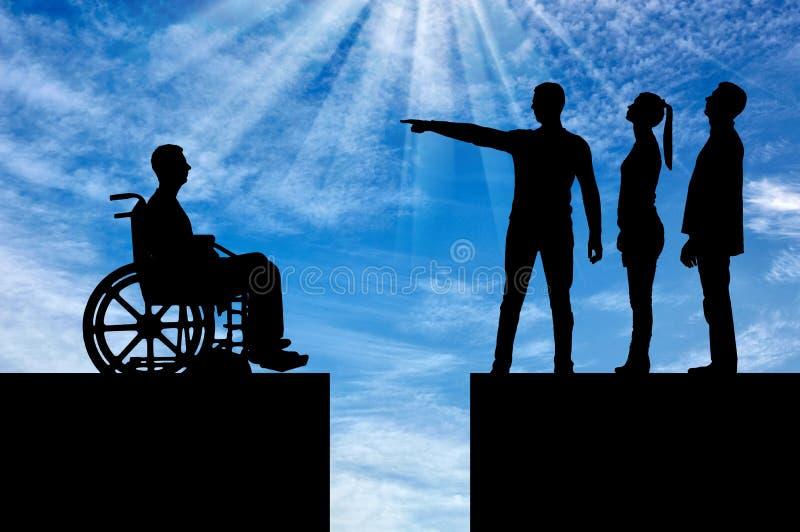Conceito da discriminação dos povos com inabilidades na sociedade imagens de stock royalty free