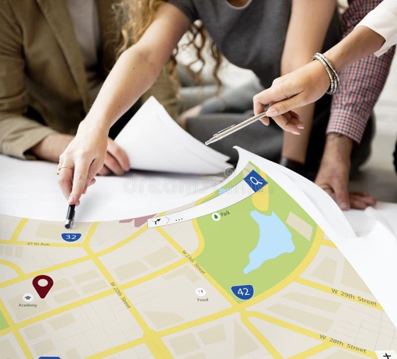 Conceito da disposição da Web da informações sobre localização do mapa fotos de stock royalty free