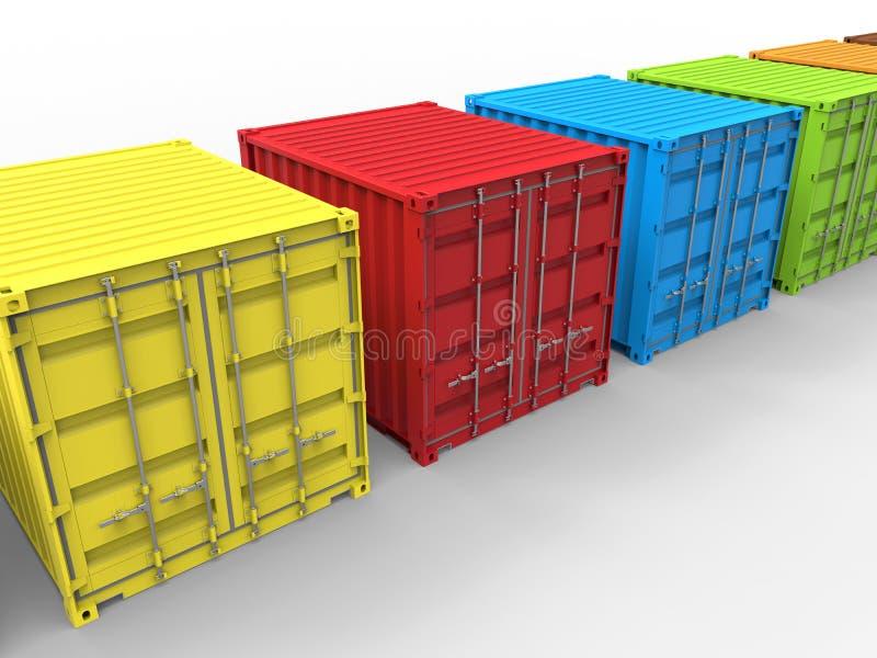 Conceito da diversidade da cor dos recipientes de carga ilustração do vetor