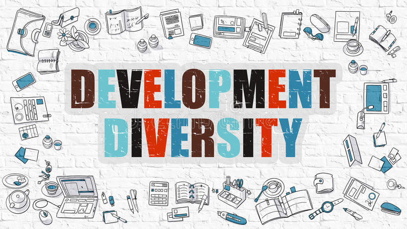 Conceito da diversidade do desenvolvimento com ícones do projeto da garatuja ilustração do vetor